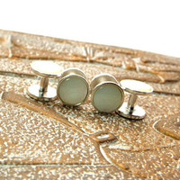 White Mother of Pearl Tuxedo Shirt Studs in Sterling, White Pearl Tuxedo Shirt Studs, White Tuxedo Shirt Studs
