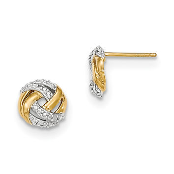 14k Diamond w/Rhodium Accents Round Post Earrings XE2693AA