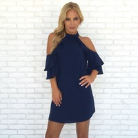 Flutter Open Shoulder Dress in Navy Blue