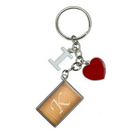 Letter K Wooden Engraving I Heart Love Keychain