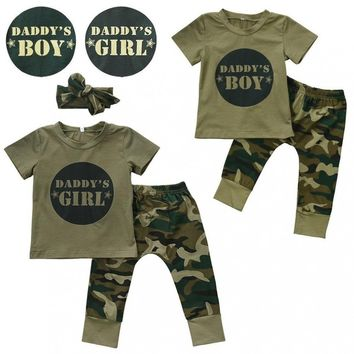 Cute Newborn Baby Boys Girls Short Sleeve Camo T-shirt Tops Pants Outfits Set Clothes