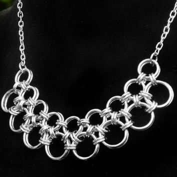 Silver Chain Necklace // Chain Maille Jewelry // Chainmail Jewelry // Medieval Japanese Weave // Boho Necklace