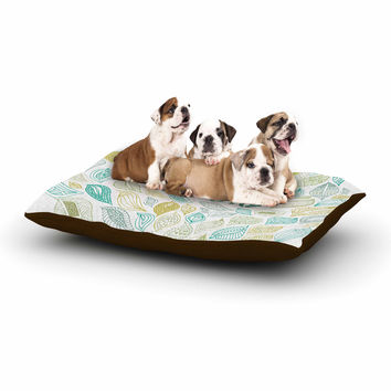 """Pom Graphic Design """"Nature Earth"""" White Teal Dog Bed"""