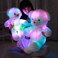 Romantic Colorful flash LED light plush teddy bear doll Colorful shining led light throw pillow, Lovely cute luminous stuffed toy gifts for kids and girlfriend gift18