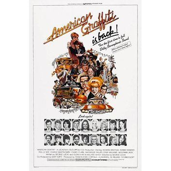 American Graffiti Movie poster Metal Sign Wall Art 8in x 12in