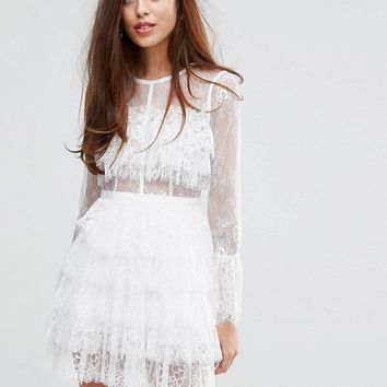 True Decadence Lace Ruffle Dress With Bell Sleeves at asos.com
