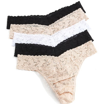 Five-Pack Original-Rise Thongs, Basic Colors, Size: ONE SIZE, MULTI COLORS - Hanky Panky