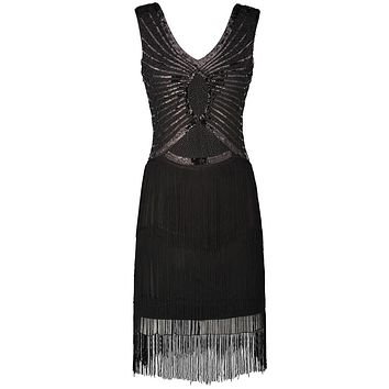 Women Little Black Dress V Neck V Back Sleeveless 1920s Style Inspired Charleston Sequin Layer Tassel Cocktail Flapper Dress