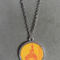 Rare Vintage Walt Disney World  Ticket Book Cover Pendant with Chain