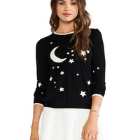 MILLY Starry Nights Glow-in-the-Dark Sweater in Black