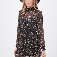 Floral Chiffon High-Neck Dress