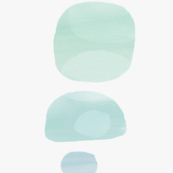 A3 Abstract Painting - Watercolor overlays, three circles, soft green