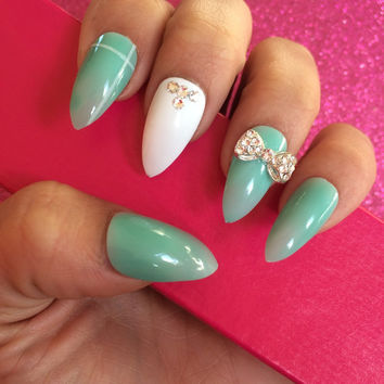 Luxury Hand Painted False Nails. Stiletto Tiffany Green Nails. 24 Nail Set.