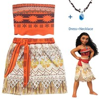 2018 Vaiana Moana Princess Cosplay Costume For Children Dress Costume With Necklace Halloween Trolls  Elsa For Kids Girls Gifts