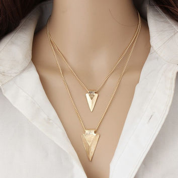 Fashion necklace women vintage collier body chain Metal triangle pendant long necklace Fine jewelry