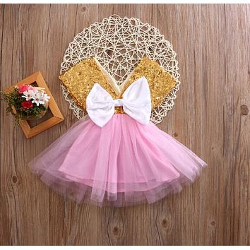 Summer 2017 Baby Toddler Girls Dress Flower Princess bow-knot Wedding Party Lace Tutu Pageant Fancy TUTU Dress