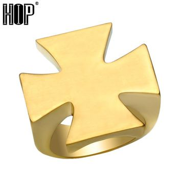 HIP Gold Silver Color Titanium Stainless steel Mens Ring Pattee Cross Rings for Men jewelry