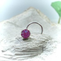 Nose Stud 09 Fire Opal Silver