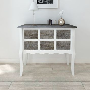 White Accent 6-Drawer Console Table Storage Chest