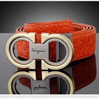 Ferragamo Fashion Contracted Smooth Buckle Belt Leather Belt