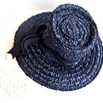 Vintage 60s Navy Blue Straw Hat by AloofNewfMillinery on Etsy