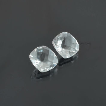 Crystal Quartz 8x8mm Cushion Cabochons-Jewelry Making Gemstone-Calibrated Cabochons-Wholesale Gemstone-Loose Gemstone-2 Pcs.
