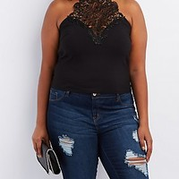 Plus Size Crochet Mock Neck Top