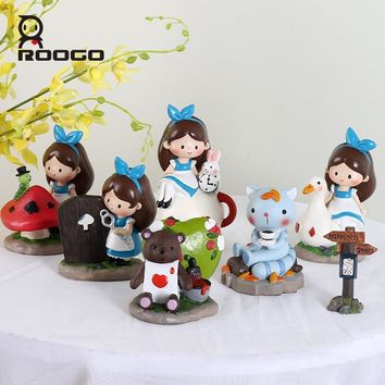 roogo home decoration accessories Resin Alice in Wonderland new design cute girl ornament desktop office wedding decor gifts