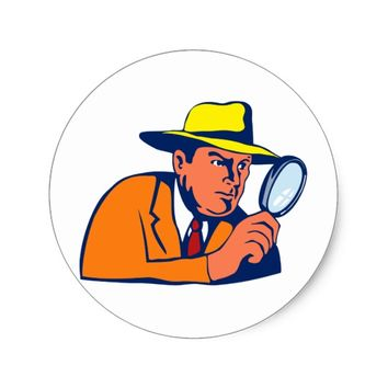 detective looking with magnifying glass classic round sticker