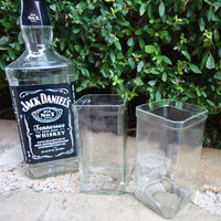Jack Daniels Liquor Bottle Drinking Glasses made from Recycled Jack Whiskey Bottles Set of 2