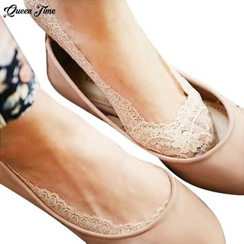 1 Pair of 2017 Hot Summer Women Girls Cotton Lace Antiskid Invisible Liner No Show Peds Low Cut Socks Black/Skin Sock Slippers