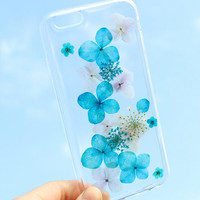 Blue Secret Case 100% Handmade Dried Flowers Cover for iPhone 7 7Plus & iPhone 6 6s Plus + Gift Box B61