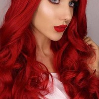 RED PURE WAVY LONG SYNTHETIC LACE FRONT WIG