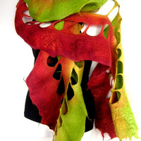 Felted Scarf, Ruffled Wavy, Lime Green Burnt Orange Terracotta, Scarf With Holes, Merino Wool Scarf, Gift For Her