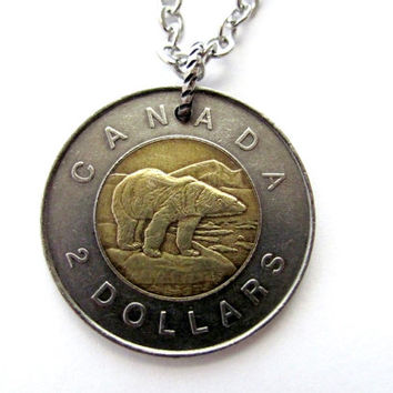 Canadian Polar Bear Necklace, Coin Pendant, 2 Dollars, 1996, Upcycled Jewelry by Hendywood - B2