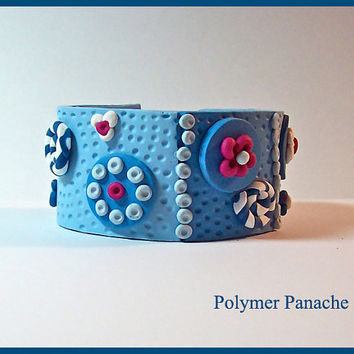 Cuff Bracelet Denim Blue Magenta 1 3/8 in. Polymer Clay Handmade Textured 3 Dimensional Magnetic Clasp