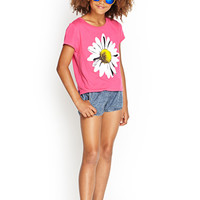 FOREVER 21 GIRLS Daisy Tee (Kids) Fuchsia/White