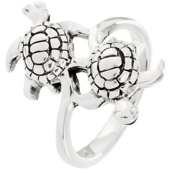Sea Turtle Duo Swimming Sterling Silver Ring