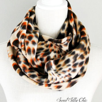 Leopard Print Fleece Infinity Scarf, Animal Print Scarf, Winter Scarf, Fall Scarf