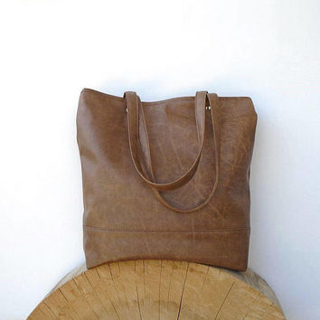 Brown leather zipper bag, Tote vintage design, casual tote, everyday handbag, leather shoping bag, Messenger Bags, brown purse, day bag