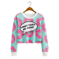 2016 Fashion Women's EXO Spring Autumn Donuts Printed Cropped Sweatshirts Kpop Short Hoodies Sudadera Mujer C2599
