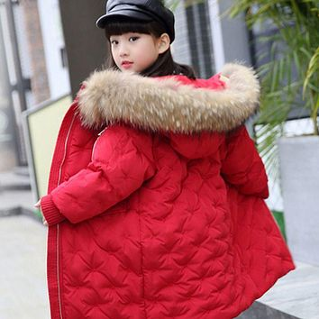 Russia Winter Girls Snows Coat Kids Down Jacket Large Fur Collar Children Boys Parkas Hooded Outerwear Snowsuit TZ208