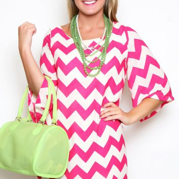 Heavenly Chevron Dress II in Pink (pink and white chevron dress with 3/4 sleeves) by Banana!