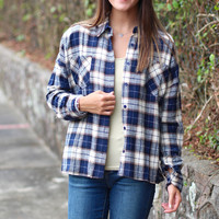 Fall Plaid Flannel {Navy}