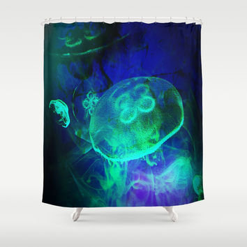 Green Glowing Luminescence of the UFO Jellyfish  Shower Curtain by Distortion Art