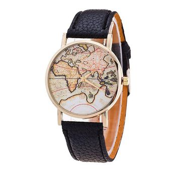 New Arrival Fashion Women's Retro Design Business Clock World Map Leather Strap Analog Quartz Wrist Watch Alarm Date Clock Gift