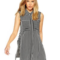 Striped Pointed Flat Collar Sleeveless Blouse