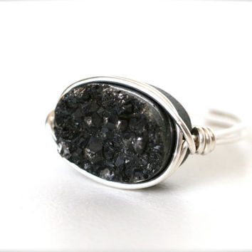 Black Druzy Cocktail Statement Ring Silver