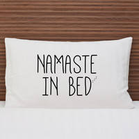 OneBellaCasa Namaste in Bed Standard Pillowcase - Black - Size std