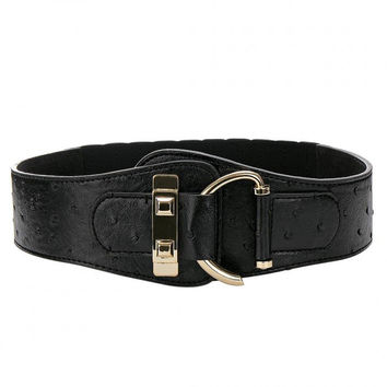 Black Leather Elasticated Waist Belt